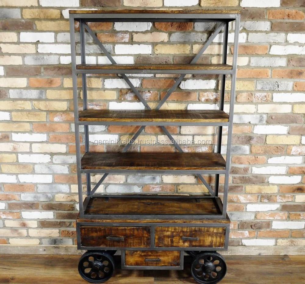 Rustic Reclaimed Wood Vintage Industrial Bookshelf On Wrought Iron ...