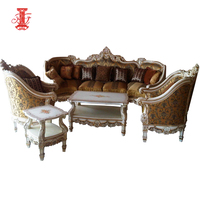 French Style Design Mahogany Wooden Carved Sofa Set 7 seater Living Room Furniture