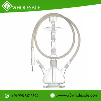 14 inch Tall Single Or Double Hose Hand Blown Boroscilicate Glass Hookah WHOLESALE