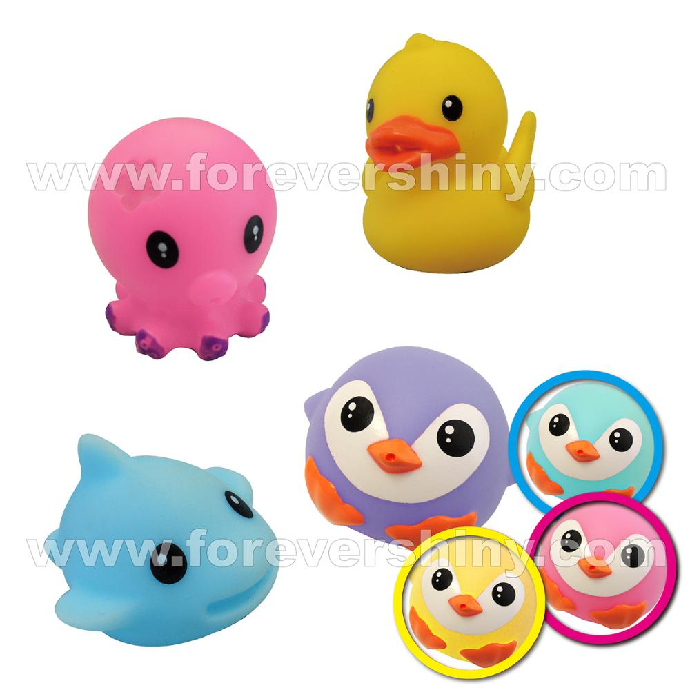 Small Mini Capsule Floating bath toys for babies Gun Squeeze Soft Animal Figurine Vinyl PVC Cute Water Spray toys for kids 2020
