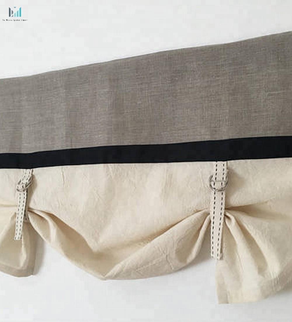 custom lengte keuken volant tie up zwart rustieke boerderij woonkamer raam behandelingen linnen gordijn