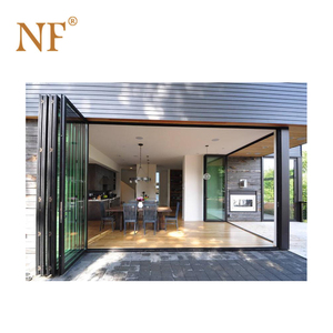 Black color corner aluminum interior glass bifold stacking doors