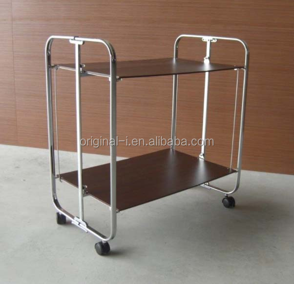 Folding Wood Food Serving Trolley Cart with Wheels for Hotel, Dining, Restaurant (BOARD)