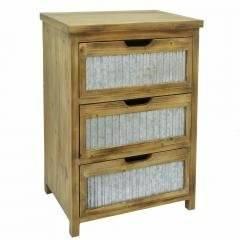 Benzara Wood Metal 3 Drawer Cabinet