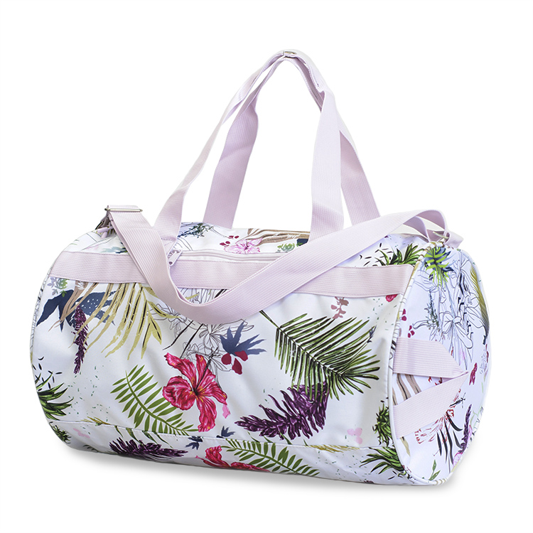 2b0e56d17cf4 Custom Canvas Floral Sublimation Girls Travel Duffle Gym Sports Bag ...