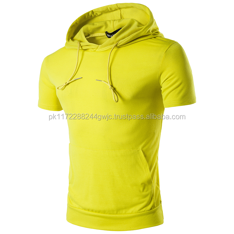 Custom men short sleeves pullover hoodie loose-fit gym hoodie men/Wholesale Bodybuilding fitness workout Hoodie men top quality