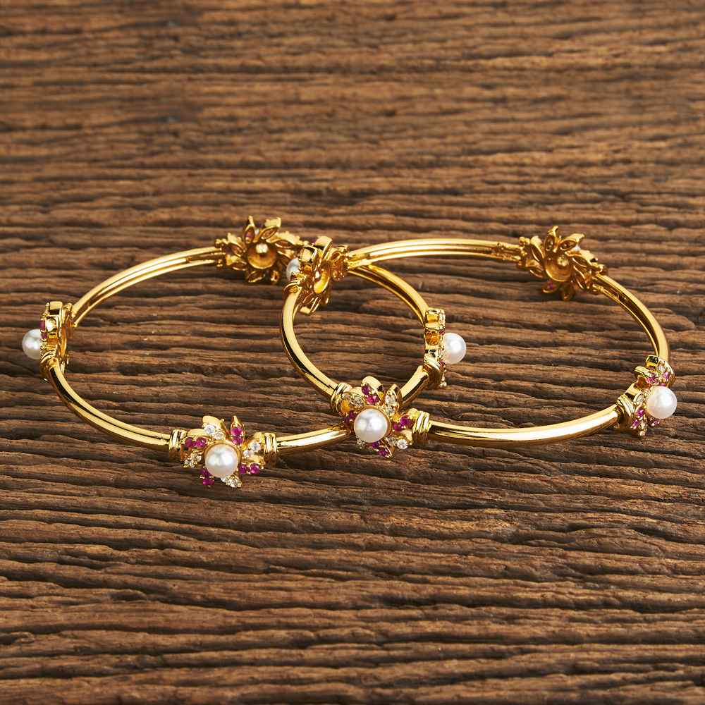 Floral design 2 pc Classic Bangle With Gold Plating 60102 Ruby