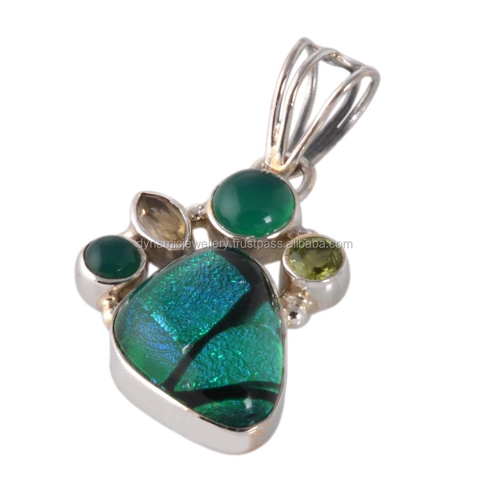 Hot selling dichroic glass 925 silver pendant