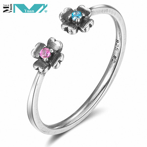 925 Sterling Silver Double Flower Open Rings Adjustable Women Fine Jewelry with Cubic Zirconia