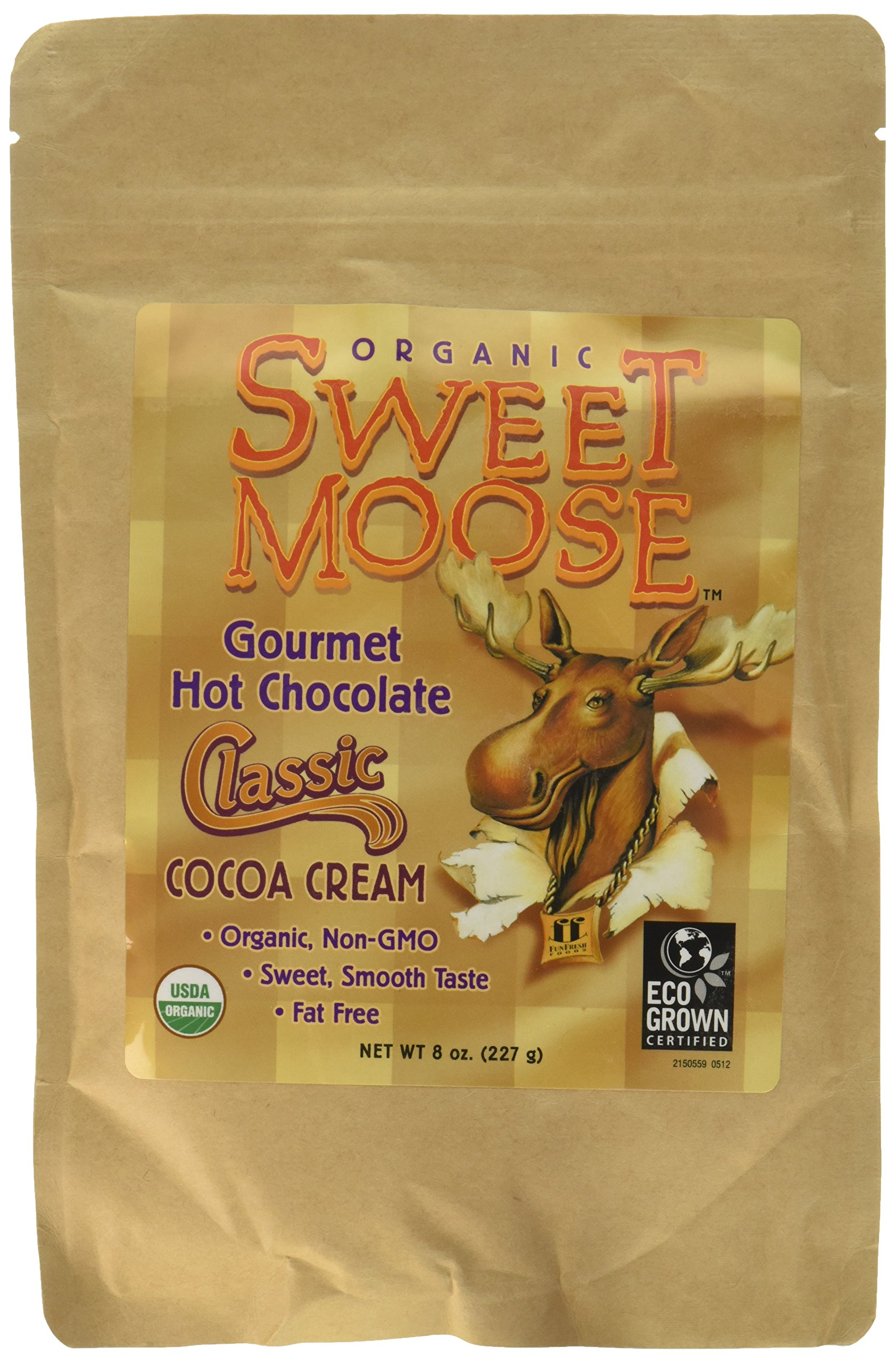 FunFresh Foods Sweet Moose Organic Gourmet Hot Chocolate/Classic Cocoa Cream Energy Strip, 2 Count