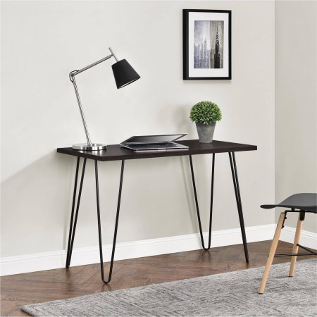 Retro Desk,Multiple Colors,Office Furntirue,Writing Desk,Dining Room,Powder-Coated Metal Legs,Made from Laminated Particleboard,Home Furniture,Computer Desk,BONUS e-book (Dark Russet Cherry)