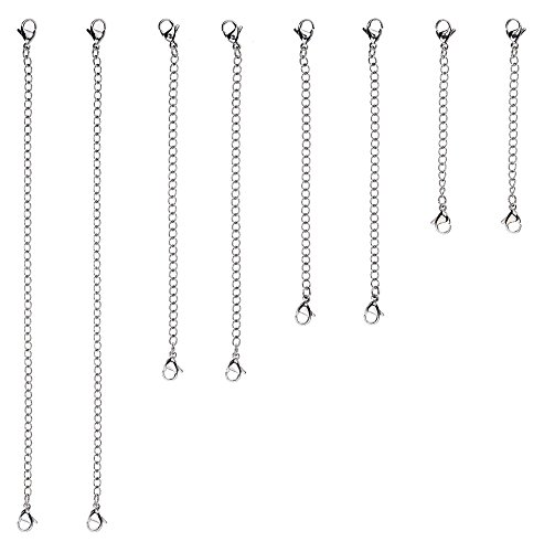 """D-buy 8 Piece Stainless Steel Necklace Bracelet Extender Chain, Set 4 Different Length: 6"""" 4"""" 3"""" 2"""""""