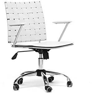 """White Leather Office Chair with Adjustable Height, Office Chair, Home and Office Desk Chair, Desk Swivel Chair, Home and Office Furniture, Bundle with Expert Guide """"Quality in Our Life"""""""