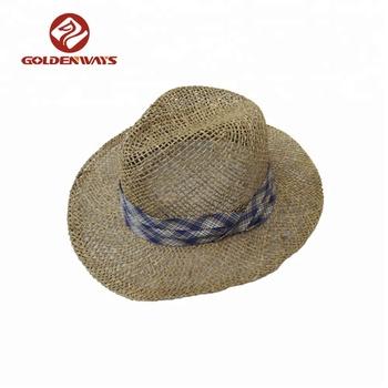 d1f4cd5b6bf68 Fashionable salt grass breathable custom straw cowboy hat man with band