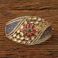 Kundan Classic Kada with gold plating 45269 Blue