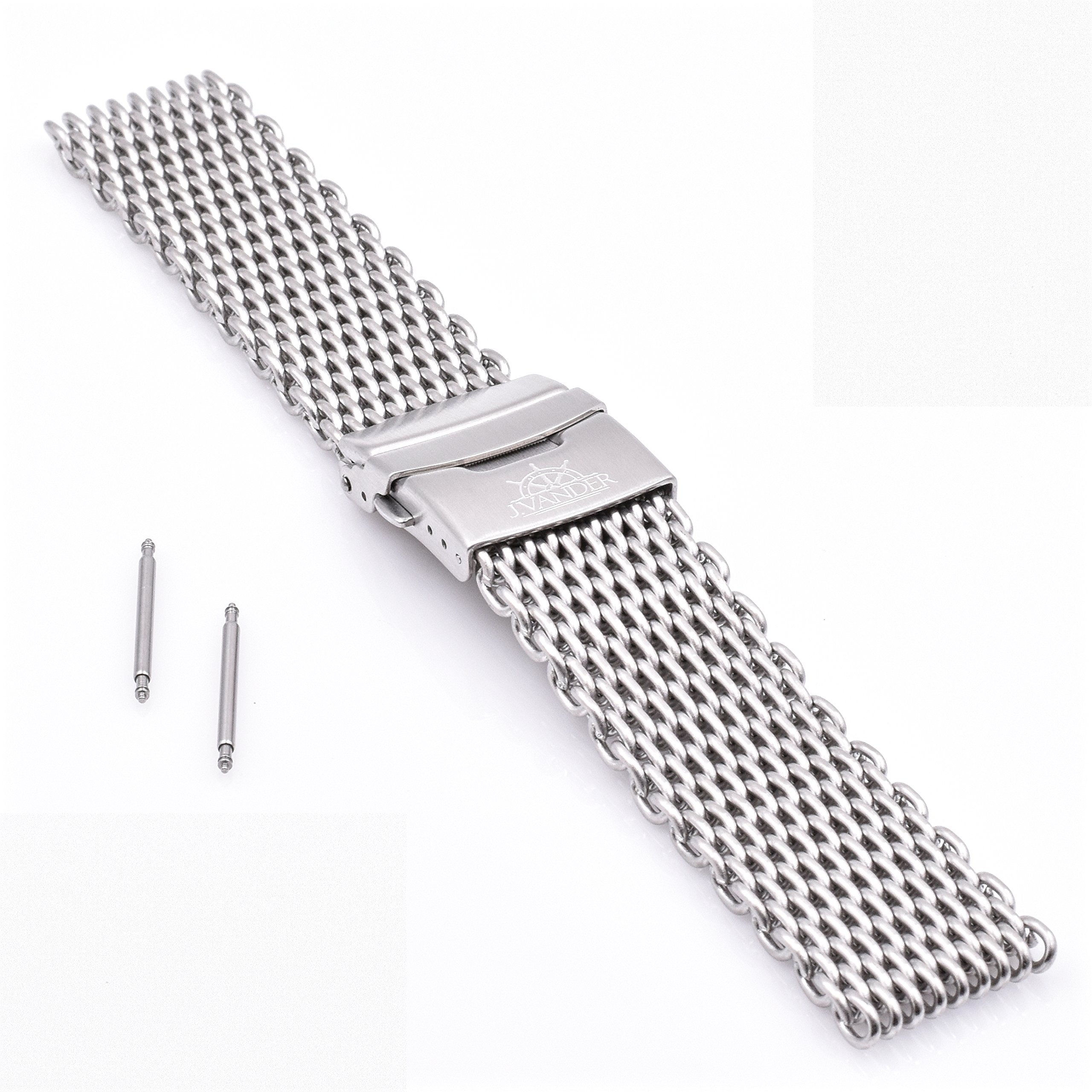 207b8655045e Get Quotations · J.VANDER V.2 Milanese 316L Stainless Steel Shark Mesh Dive Watch  Band Strap