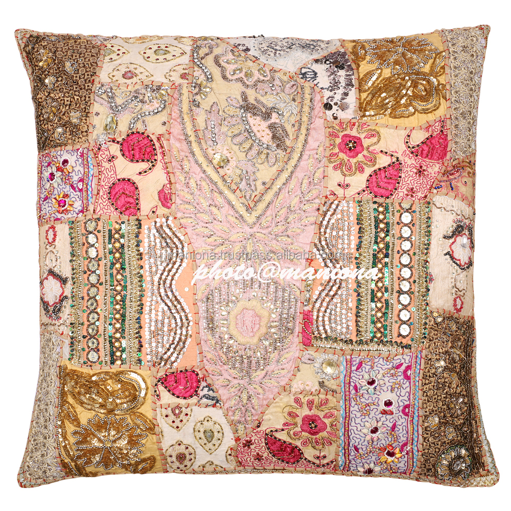 Maniona Beige Floor Seating Pillow Cover Moti Embroidered Beaded Sari Patchwork Cushion Cover 26*26