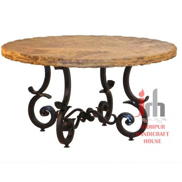 Old Sleeper Wood Top Made Iron Base Coffee Table for Sale