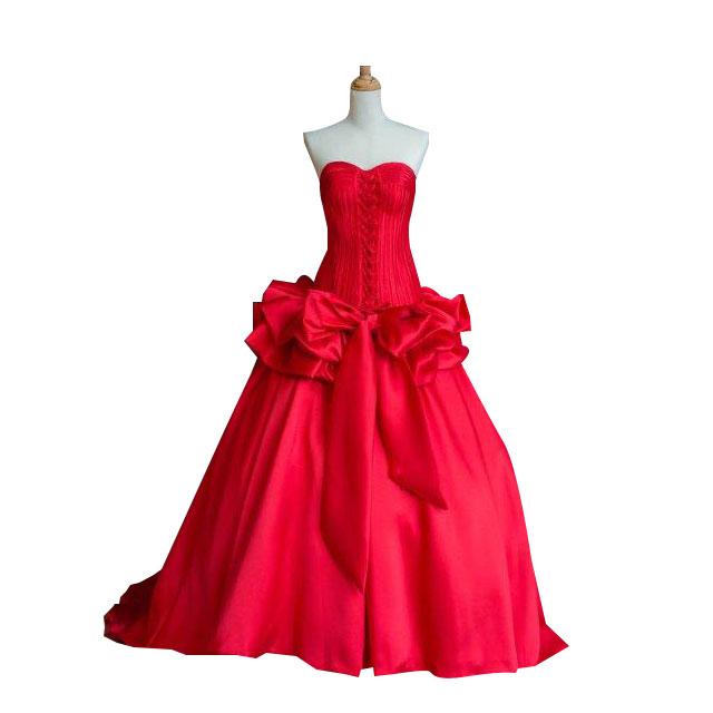 BRIDAL RED WEDDING GOWN DRESS WITH FRONT BOW RIBBON FIT TO SIZE L