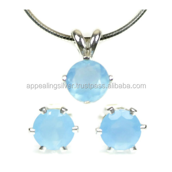 Highlight handmade 925 sterling silver chalcedony gemstone jewelry set