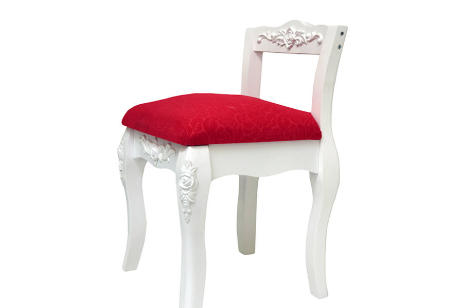 Stool Seat White Red Lined Baroque Classic Style Musicroom Dressin Table Piano