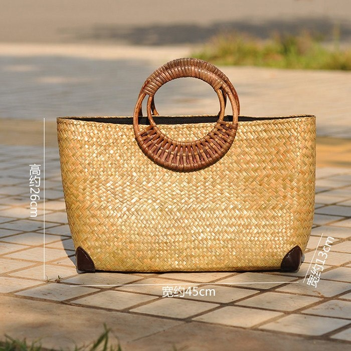 Lady Outdoor Summer Vacation Straw Tote Bag High Quality Handmade Rattan Handbag Women Bags Woven Beach Bags Rattan Bags