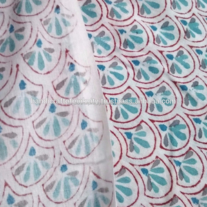 Soft Voile cotton Hand Block Print textiles 3 yard Fabric