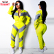 Yellow Contrast Color Two Piece Set Satin Tracksuit Women Windbreaker Sweat Suits Jogger Pants High Waist Long Sleeve Sweat suit