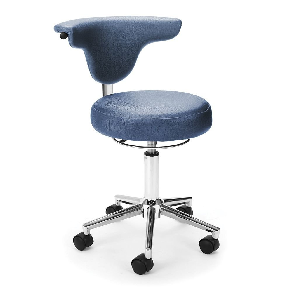 """Armless Doctor""""s Chair Slate Vinyl/Chrome Base Dimensions: 21.25""""W x 22""""D x 27.75-31.75""""H Seat Dimensions: 15""""Wx18.75-22.75""""H Back Dimensions: 19""""Wx9""""H Weight: 20 lbs"""