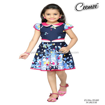 97e37bb70 N.blue Color New Printed Design Frock - Buy New Style Girls Frock ...