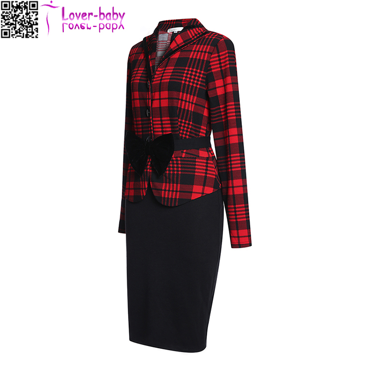 Formal Single Breasted Long Sleeve Robe Hiver Bow Plaid Office Business Skirt Sets 36070