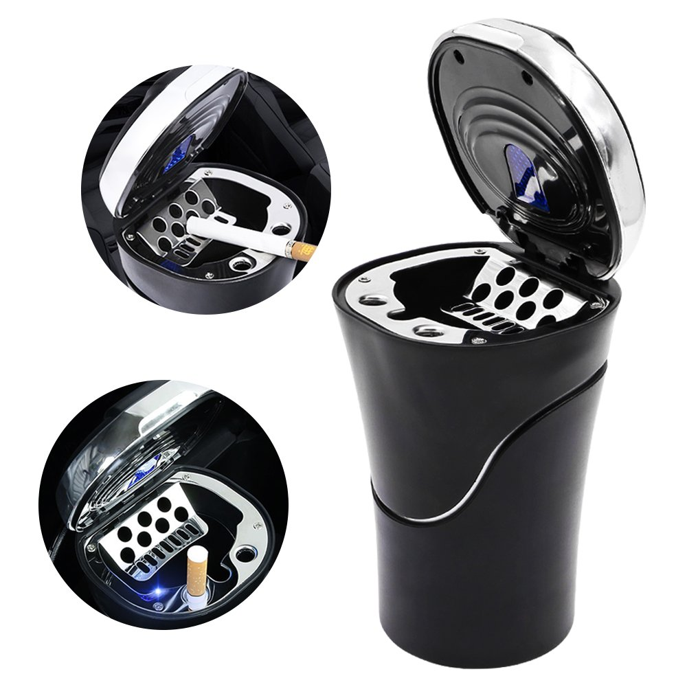 Car Ashtray Cup Holder with Lid, Smokeless, for Cigarette, Solar Powered Blue LED Light Indicator for Indoor/Outdoor Use