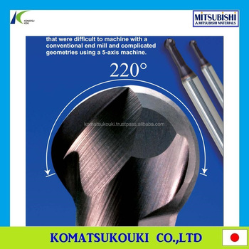 1 mm Cut Dia 4 mm Shank Dia Mitsubishi Materials VF2XLBR0050N050S04 VF2XLB Carbide Impact Miracle Ball Nose End Mill Short Shank 2 Long Neck Flute 5 mm Neck 0.8 mm LOC 0.5 mm Corner Radius