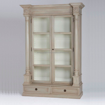 French Furniture Livingroom Showcase Cabinet 2 Gl Door Painted Black Provincial