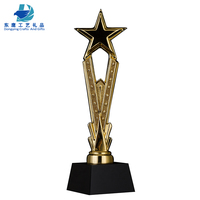 Golden Crystal Resin Star Trophy Gifts With Black Crystal Base