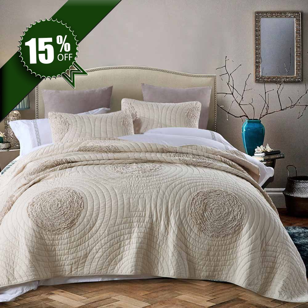 Get Quotations Micbridal Quilt King Size 100 Cotton Patchwork Bedspread With Fl Pattern Solid Champagne Modern