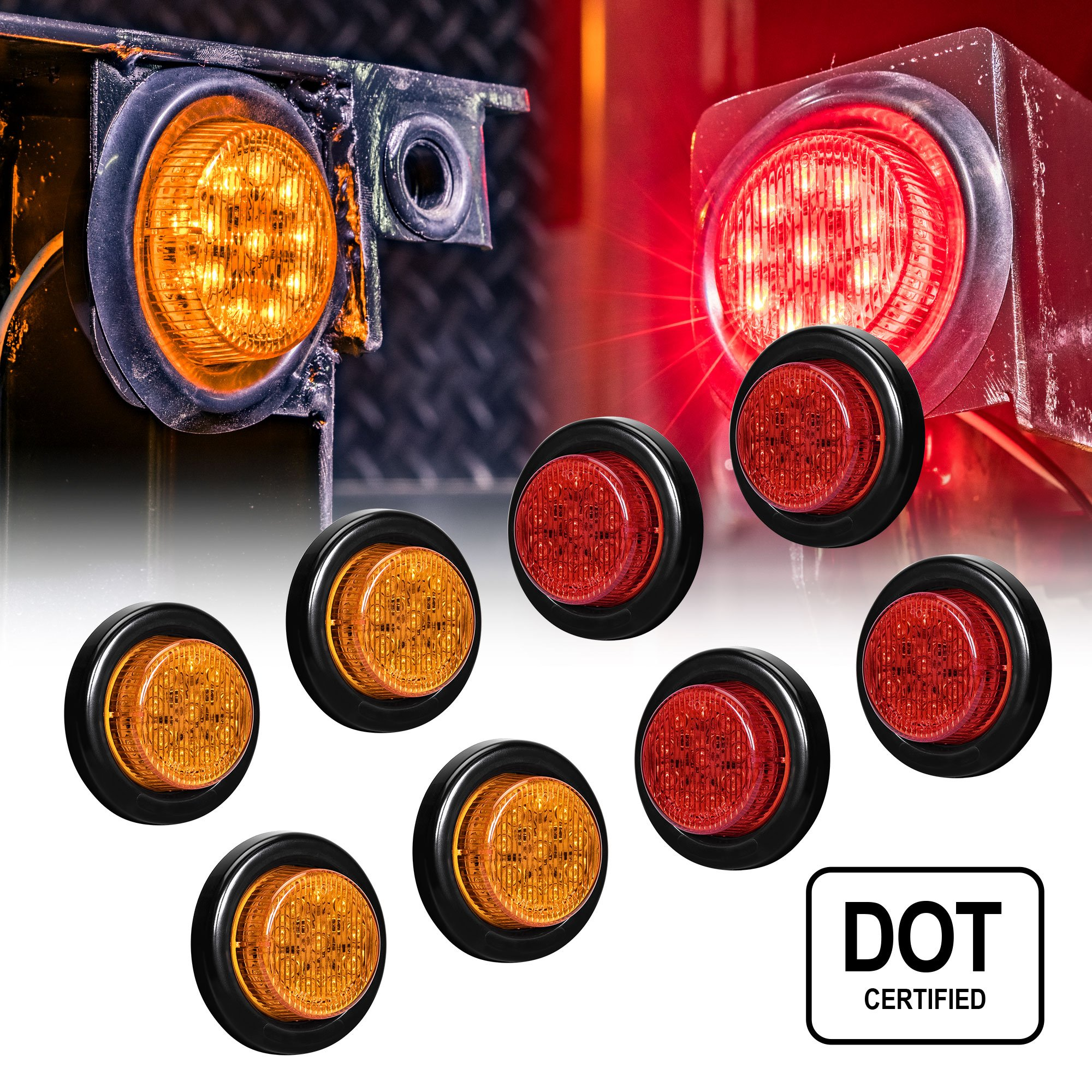 """OLS 8 PC 2"""" Round LED Clearance Light Side Marker - Two in One Reflector and Clearance Light [Polycarbonate Reflector] [10 LEDs] [Rubber Grommet] [IP 67] for Trailers - 4 Red and 4 Amber"""