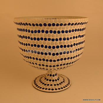Mosaic Glass Bowl Shape Flower Vasecolourful Flower Vase Buy