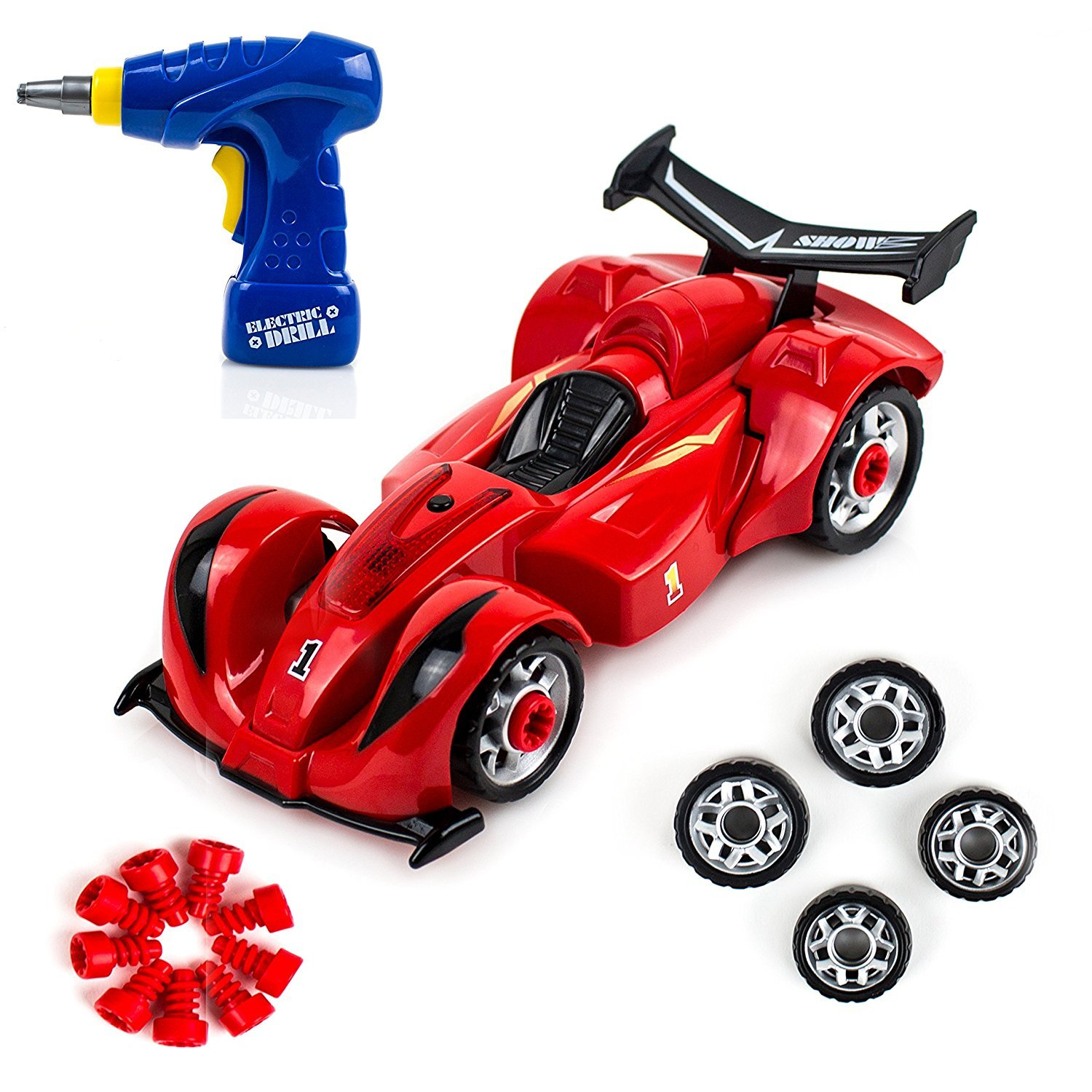 Build Your Own Toy Formula Racing Car Take-A-Part Toy for Kids with 24 Take Apart Pieces, Tool Drill, Lights and Sounds