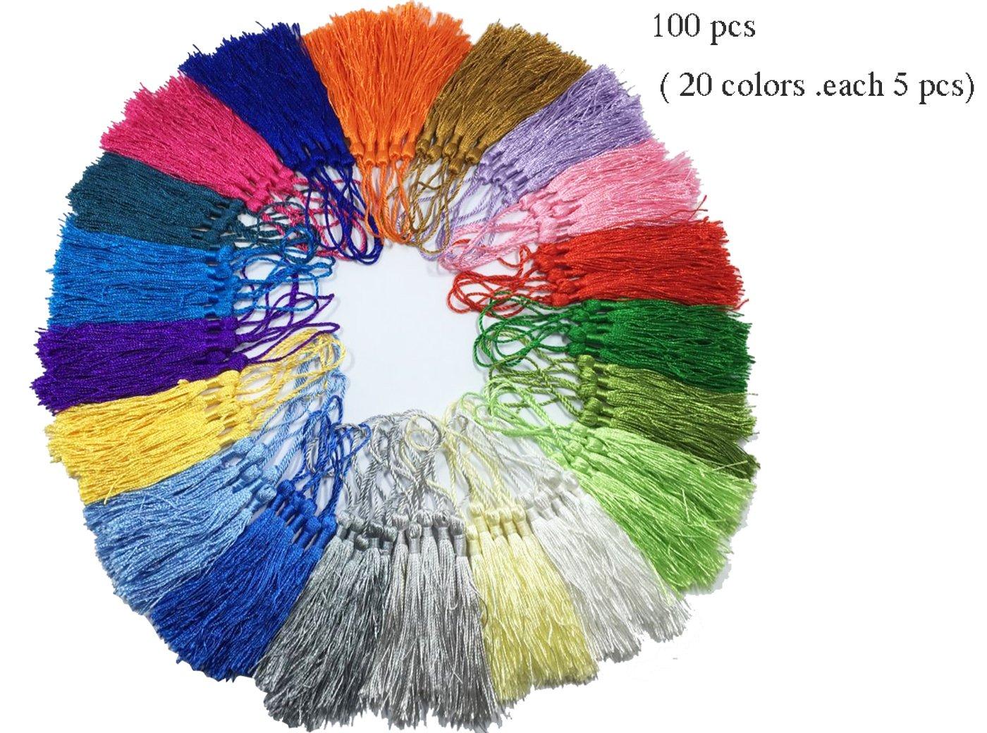 100 pcs of Prayer Beads Mini Tassels Charms Long Loop Silk Tassels Pendant,Handmade Tassels, Jewelry Tassels,Tassel Pendant, Adornments,Solid Binding Tassels Charm Handmade Tassels for DIY Crafts