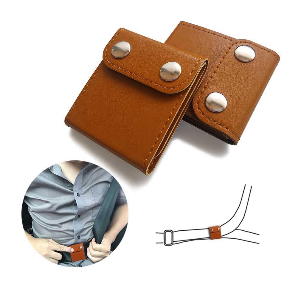 Seat Belt Adjuster, ILIVABLE Comfort Shoulder Neck Protector Locking Clip, Best Gift for Men Women Teens Kids Children for Long Distance Travel(2 Pack, Brown)