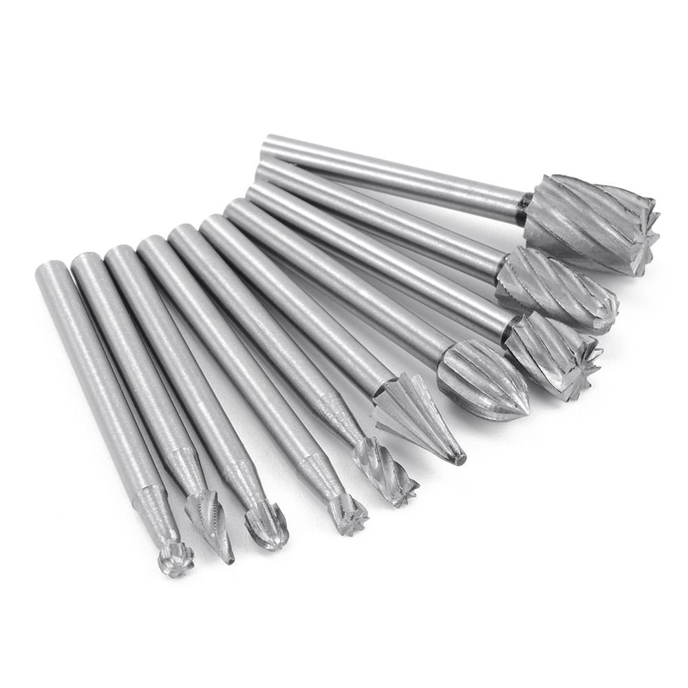 SODIAL(R) 10pcs HSS Tungsten Carbide Rotary Cutting Burr Set Grinder Bit 1/8 inch (3mm) Shank Woodworking Carving Tools