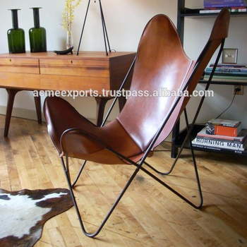 Butterfly Chair With leather Cover in Iron Frame