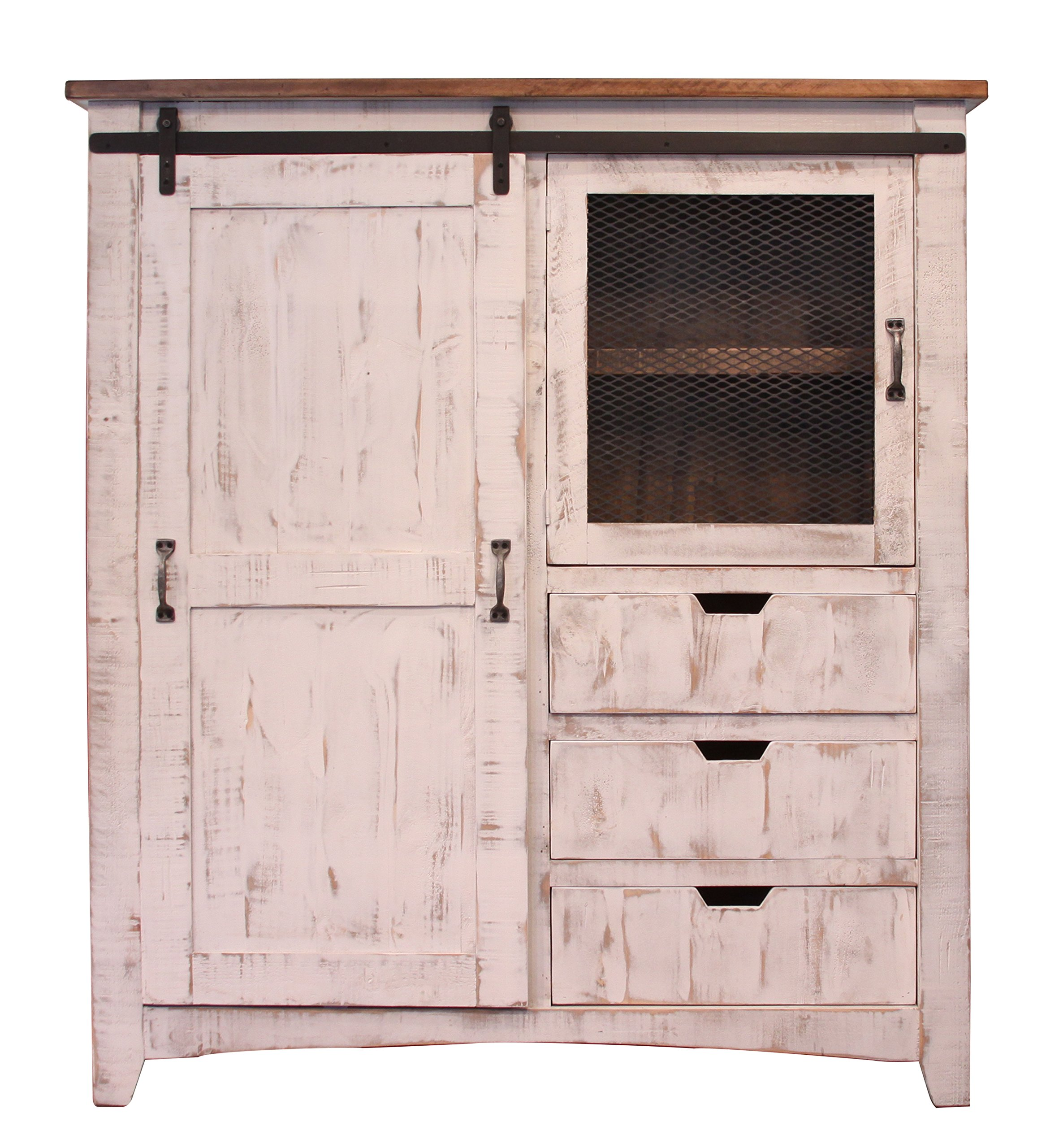 RR Distressed White Sturdy Solid Wood Anton Sliding Barn Door Gentlemans Chest Armoire. Arrives Fully Assembled And Features Upgraded Dovetail Drawers With Ball Bearing Glides