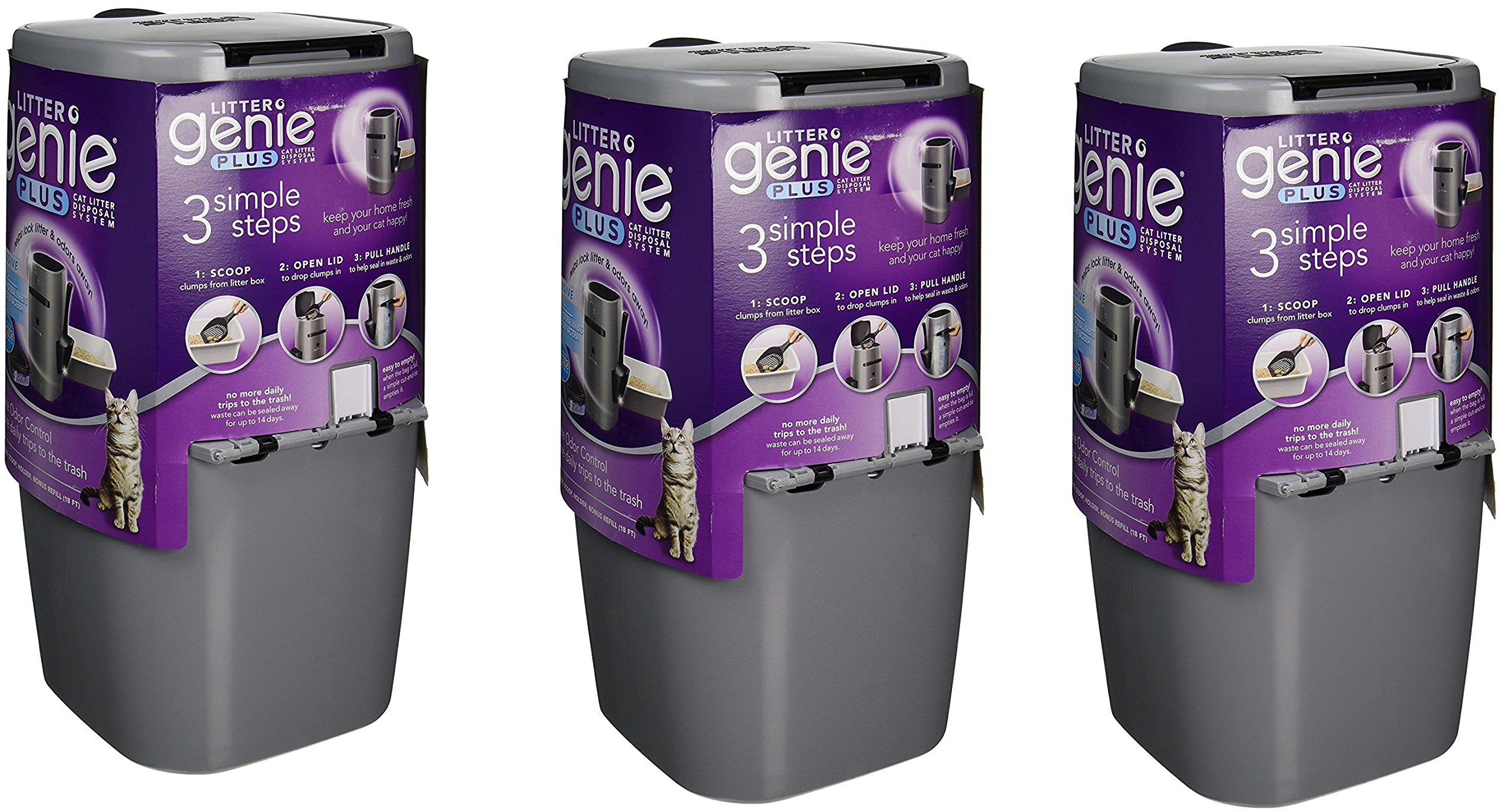 Litter Genie Plus Cat Litter Disposal System PZKmvC with Odor Free Pail System zHxFmz, 3 Pack(Silver)