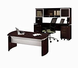 """Mayline Executive Office W/Hutch 63""""W X 102""""D X 48""""H One File/File Drawer Mobile Pedestal & One Box/Box/File Mobile Pedestal - Mocha"""