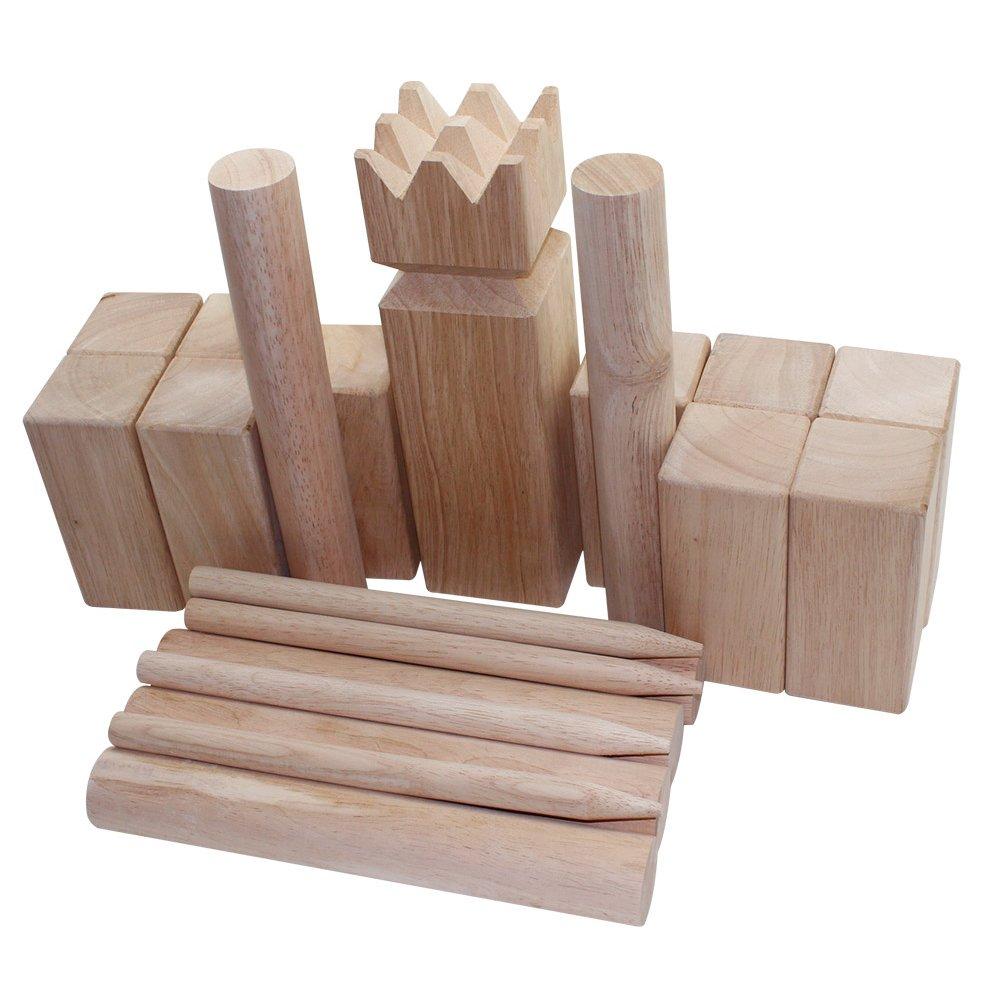 "Fun Sports Viking Kubb Game Set with Carrying Bag - One 3.5"" x 11.8"" King, Ten 2.8"" x 6"" Kubb Blocks, Six 1.8"" Diameter x 11.8"" Long Batons, Four Corner Markers, Model 3026L"