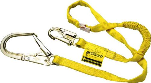 Miller by Honeywell 219WRS/10FTYL 10-Feet Manyard Shock-Absorbing Webbing Lanyard with 2-1/2-Inch Locking Rebar Hook, Yellow