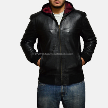 black hooded leather jacket /leather hoodie/mens leather hoodies
