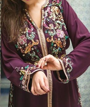 Purple Color Moroco Caftan Moroccan Kaftan Islamic Wear New Arrival 2019 Silk Thread Pearls, Sequins, Stones For Arab Woman